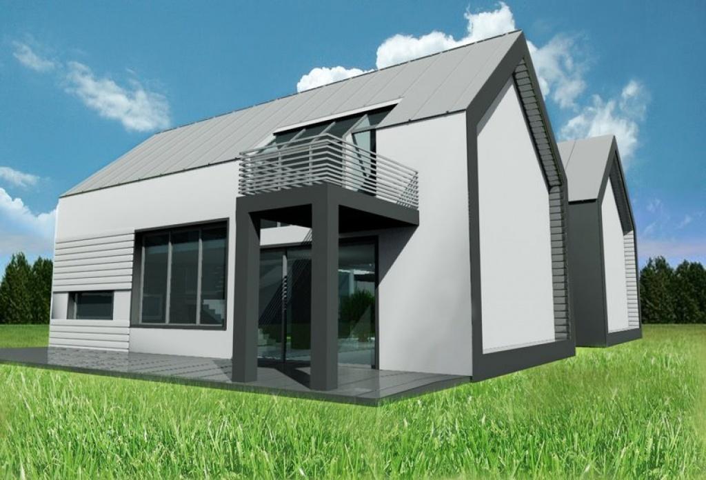 balkon w nowoczesnym domu, dach z blachy plaskiej na rabek stojacy
