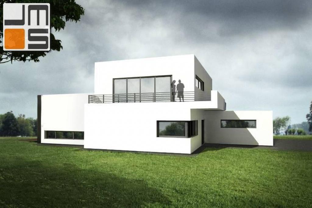 Dom z białą elewacją i nowoczesnymi oknami