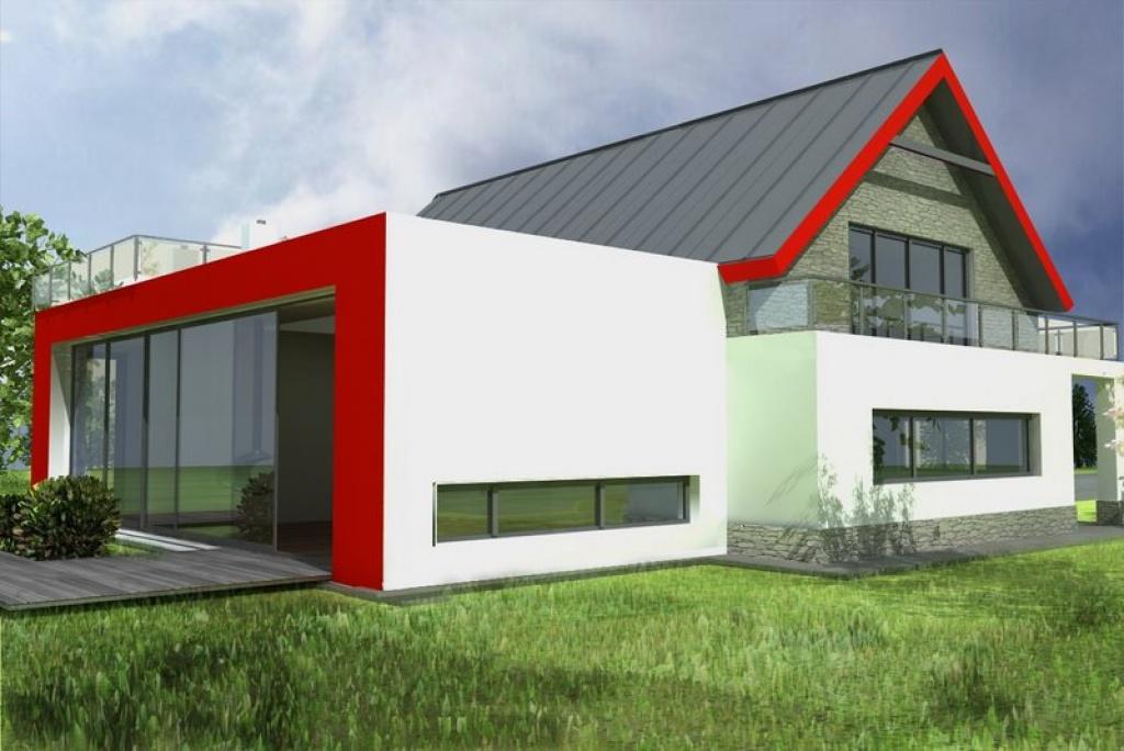 dom z duzym salonem i przeszkleniem, nowoczesny ksztalt okien