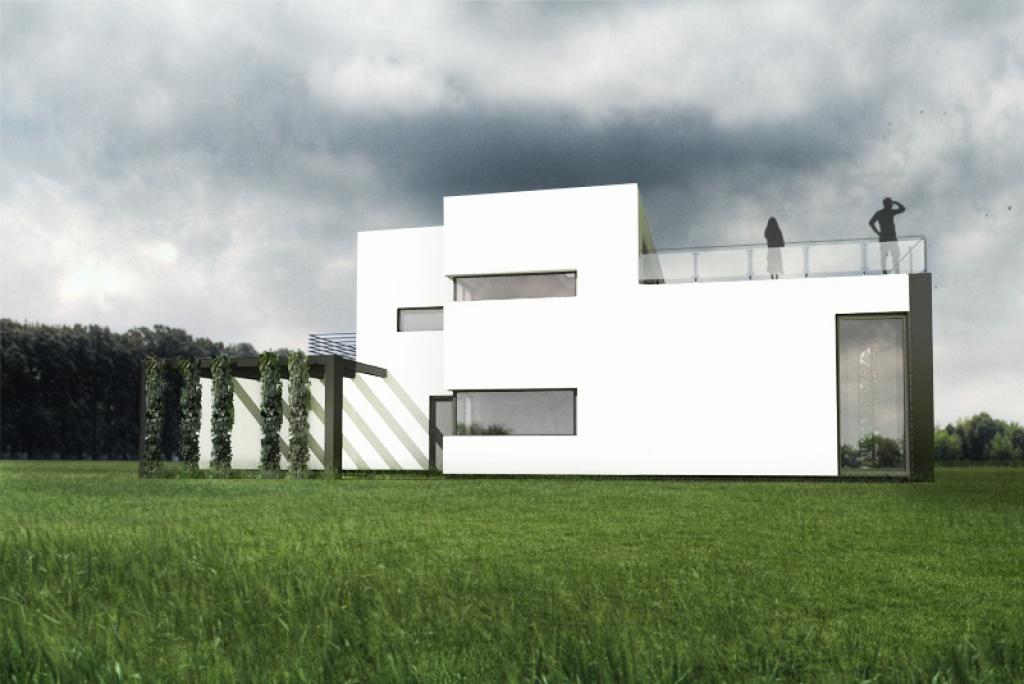 Dom z nowoczesnymi oknami i pergolą