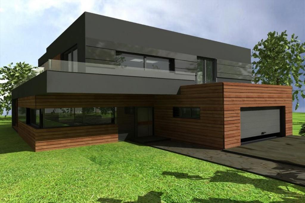 Dom z płaskim dachem i garażem dwustanowiskowym