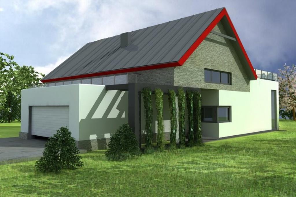Dom z poddaszem użytkowym i z pergolą jako zadaszenie nad wejściem gospodarczym do domu