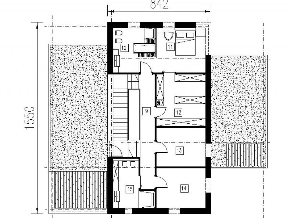 Dom z tarasem - projekt piętra z wyjściem na taras