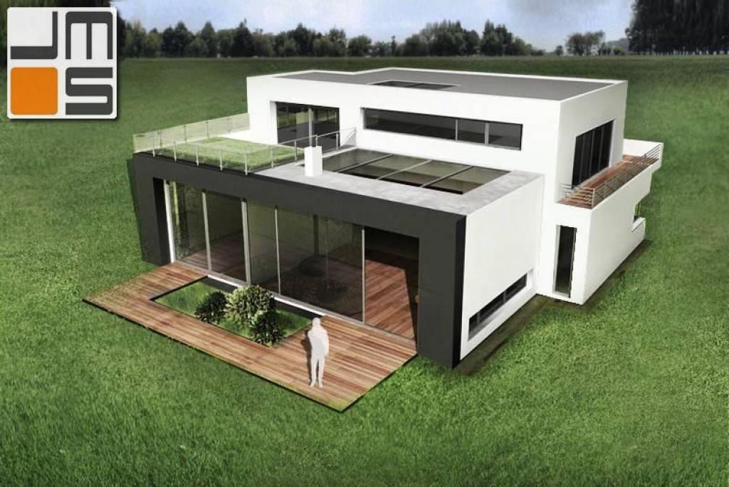 Dom z zielonym dachem i świetlikiem