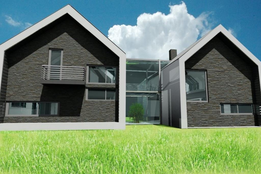 Dom ze świetlikiem i kamienną elewacją