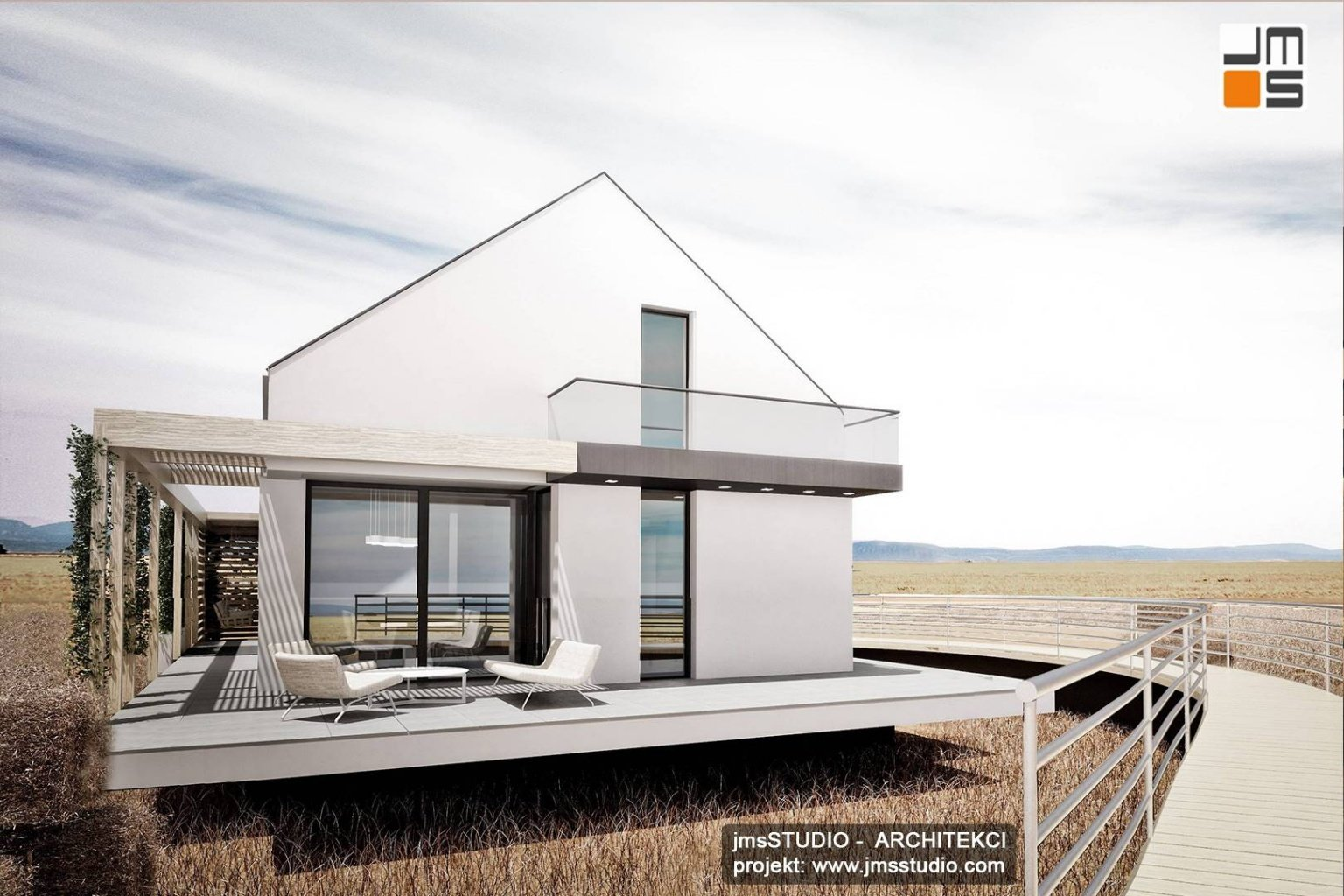 Architekt Katowice projekt domu modułowego z dużymi oknami i tarasem na Śląsku
