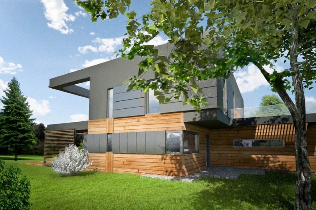 Elewacja drewniana w nowoczesnym domu z płaskim dachem