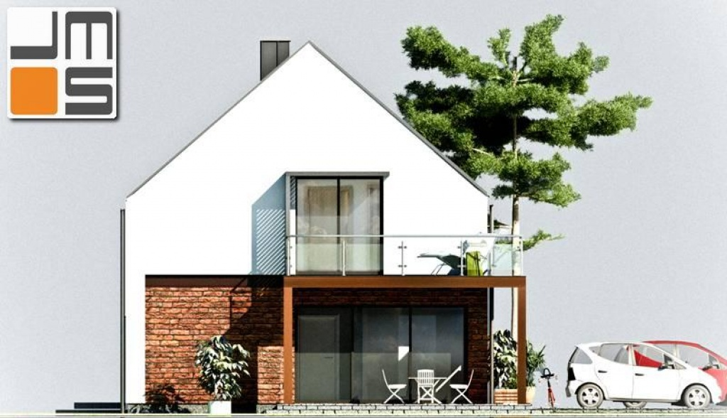 Elewacja południowa domu z dachem bez okapu