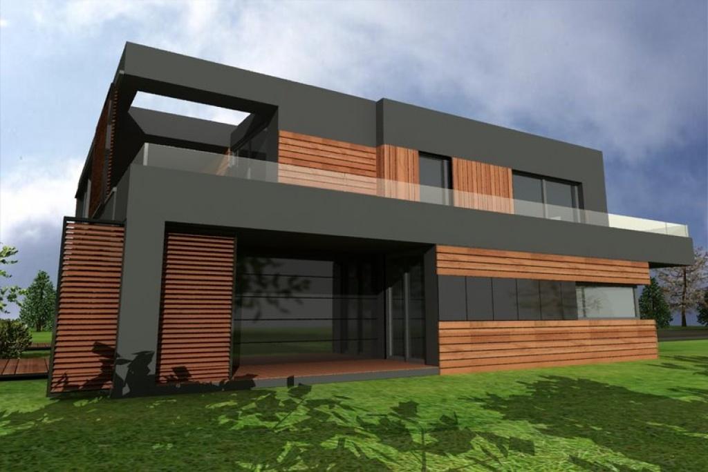 Elewacja południowa nowoczesnego domu z płaskim dachem