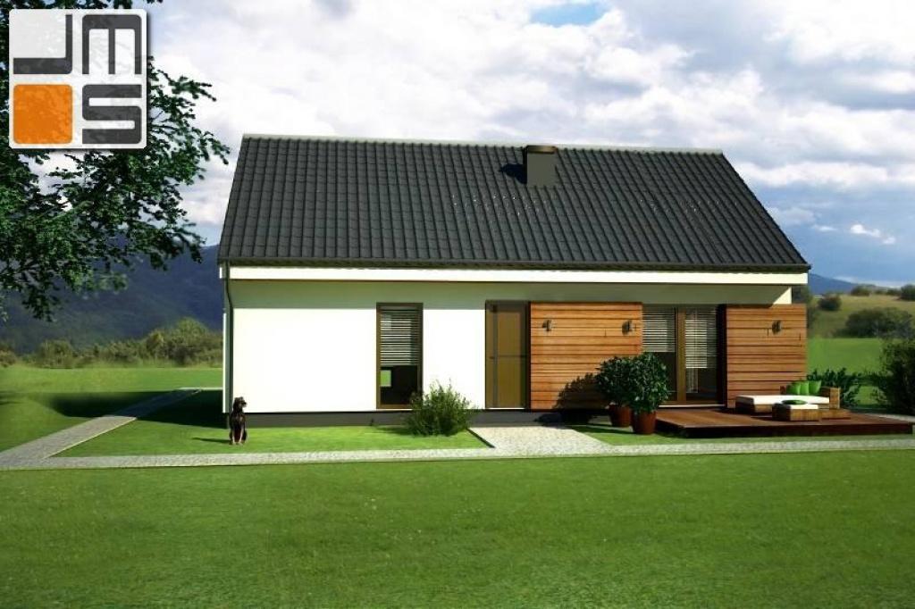 Elewacja zachodnia z aplikacjami drewnianymi domu modułowego ver.A