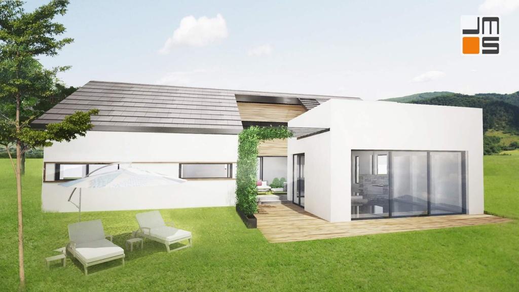 Duże przeszklenia w nowoczesnym domu jednorodzinnym z atrium