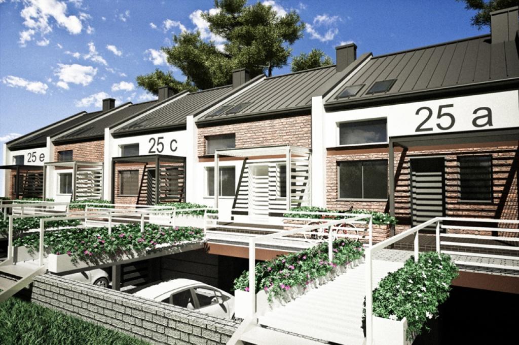 Koncepcja strefy wejściowej domów w zabudowie szeregowej