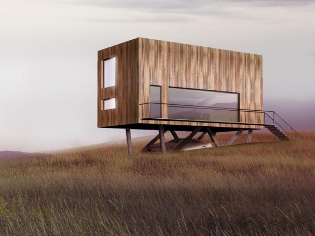 Minimalistyczny dom z kontererów w górach  nowoczesny dom z kontenerów