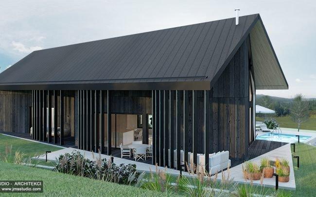 Projekt nowoczesnego domu na spadku w Bielsku nie stodoła z pomysłem na elewacja z  drewna palonego duża pergola i dach dwuspadowy asymetryczny
