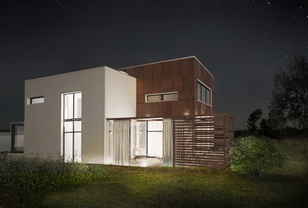 Nowoczesna elewacja domu oświetlenie budynku