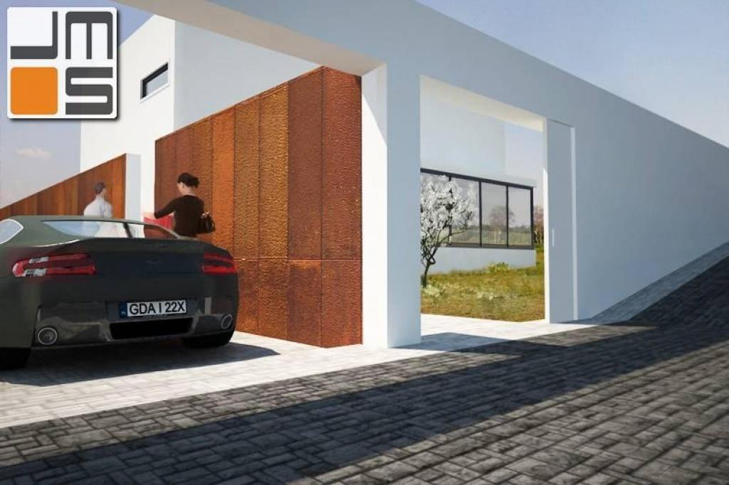 Nowoczesne ogrodzenie projekt nowoczesnego domu z płaskim dachem