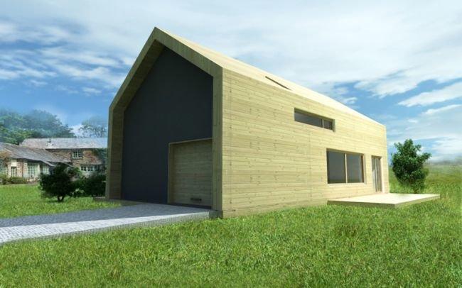 Dom jednorodzinny wpisany w otoczenie elewacja drewniana J12