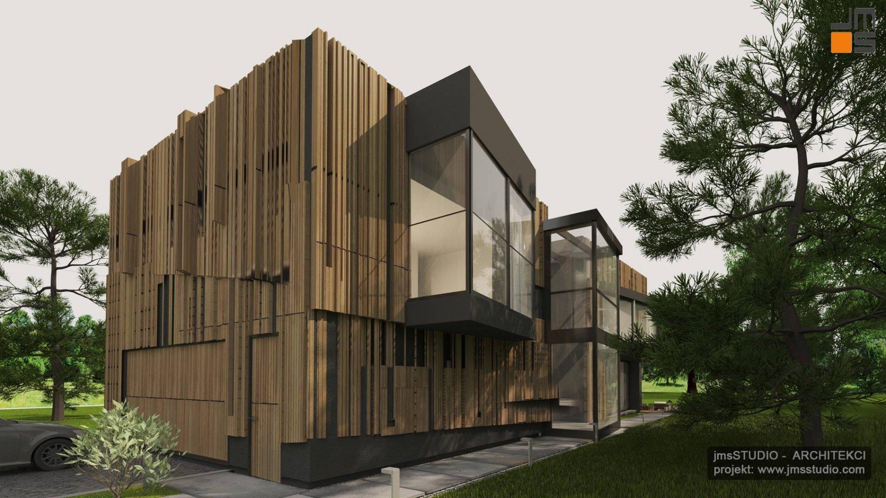 Inny niż wszystkie - projekt nowoczesnego domu z drewnianą elewacją i dużymi oknami w Katowicach na Śląsku
