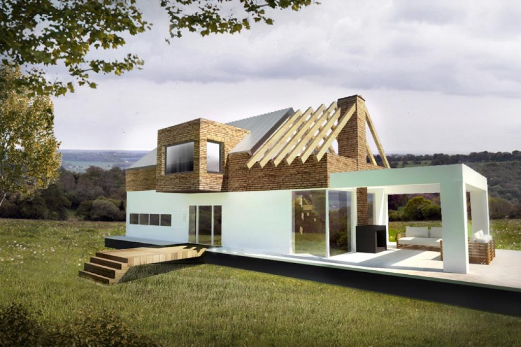 Oryginalny dach dwuspadowy w domu jednorodzinnym
