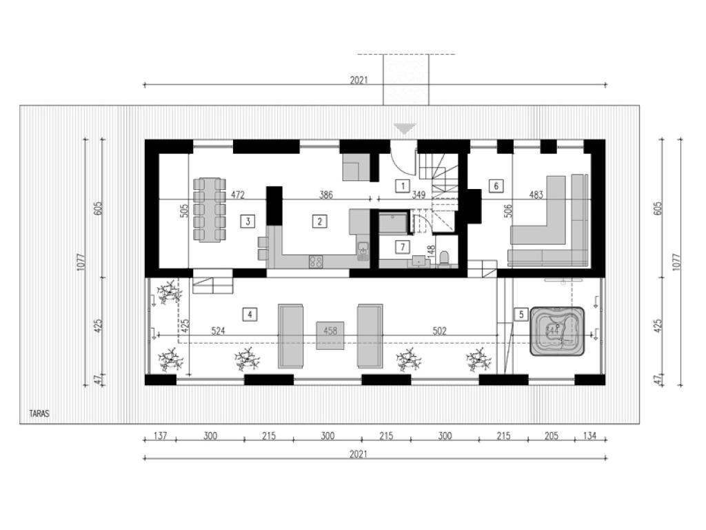 Plan funkcjonalny nowoczesnego domu jednorodzinnego parter