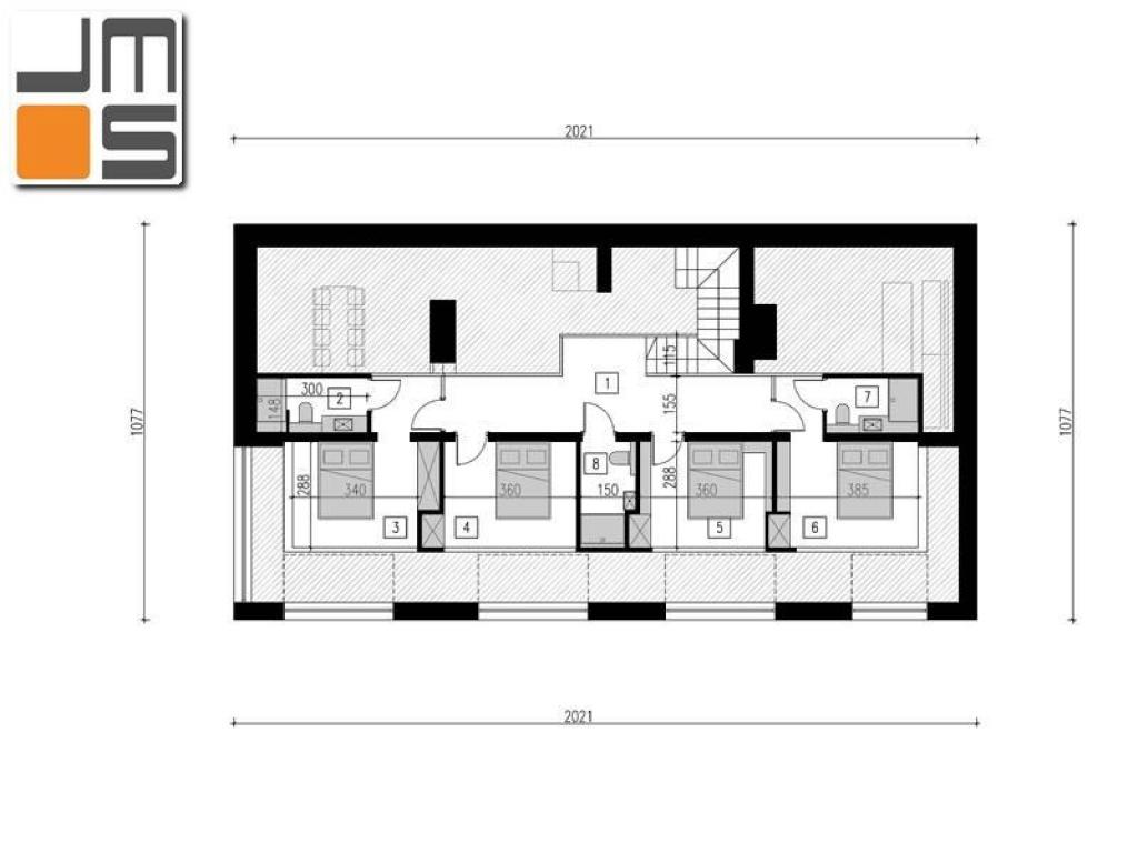 Plan funkcjonalny nowoczesnego domu jednorodzinnego poddasze