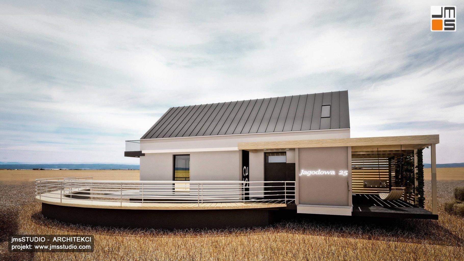dom modułowy z pomostem i prostą elewacja oraz pomysłem na wejście i blacha na rąbek na dachu dwuspadowym Katowice