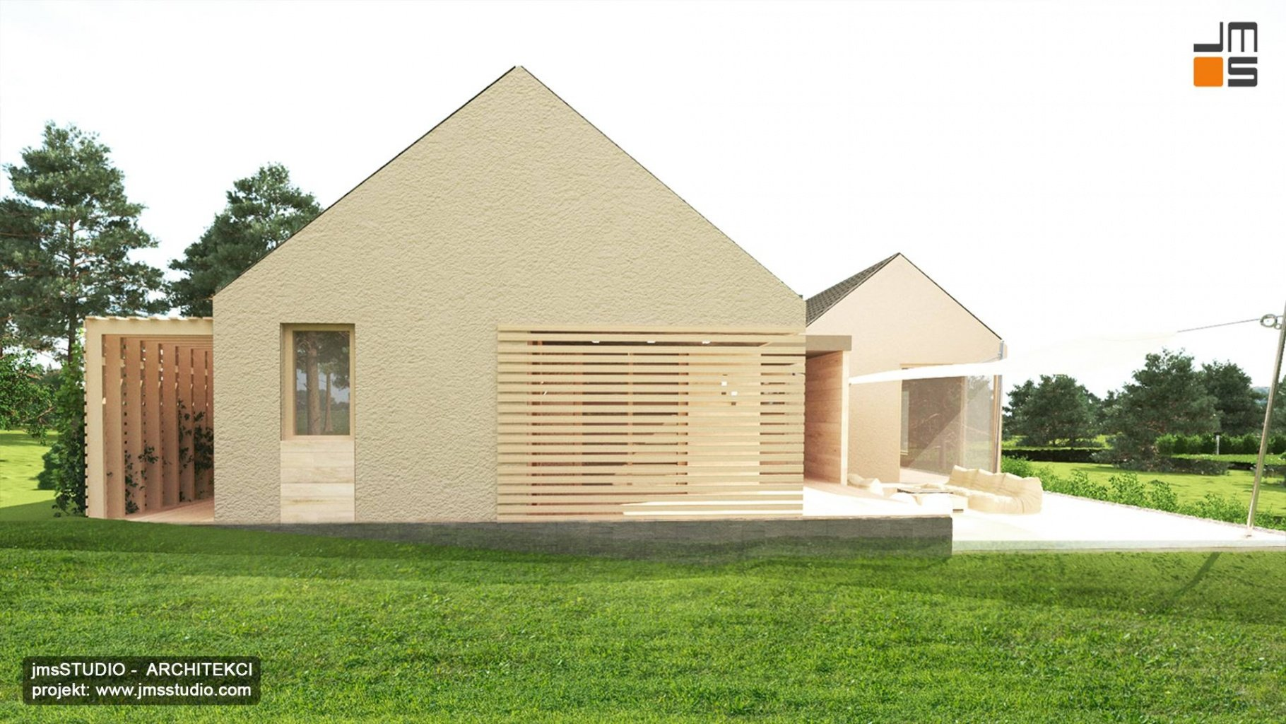 projekt elewacji dom nowoczesna stodoła w Katowicach z żaluzjami zewnętrznymi i pergolą