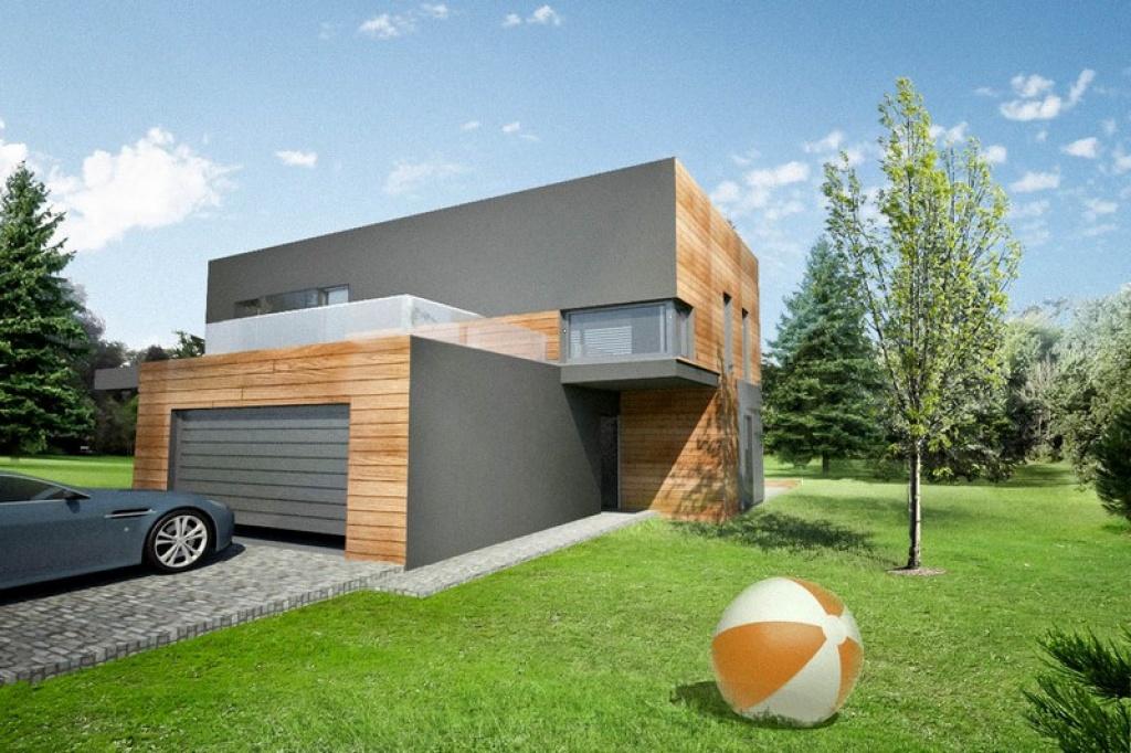 Projekt domu z garażem dwustanowiskowym i tarasem nad garażem