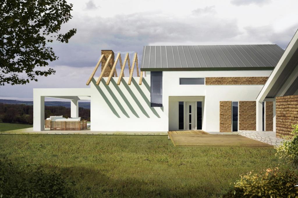 Projekt domu z nietypowym i ciekawym  układem okien