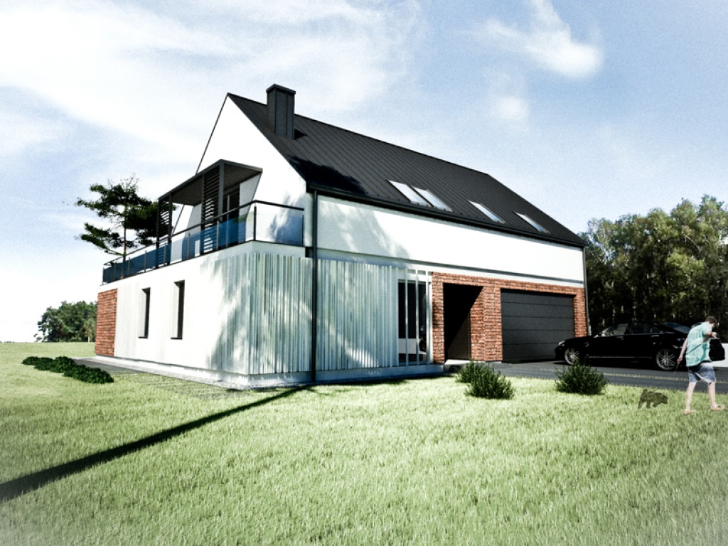 Projekt konkursowy budynku jednorodzinnego na osiedlu Gliwice Ostropa