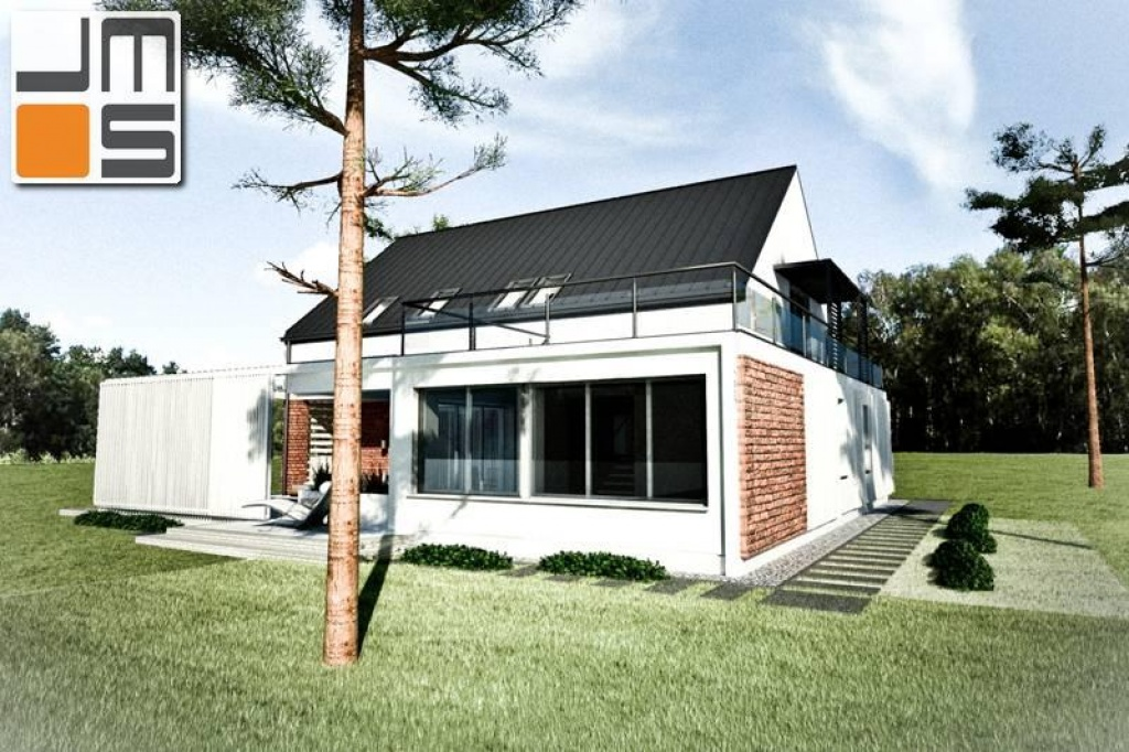 Projekt nowoczesnego domu z akcentami z czerwonej cegły