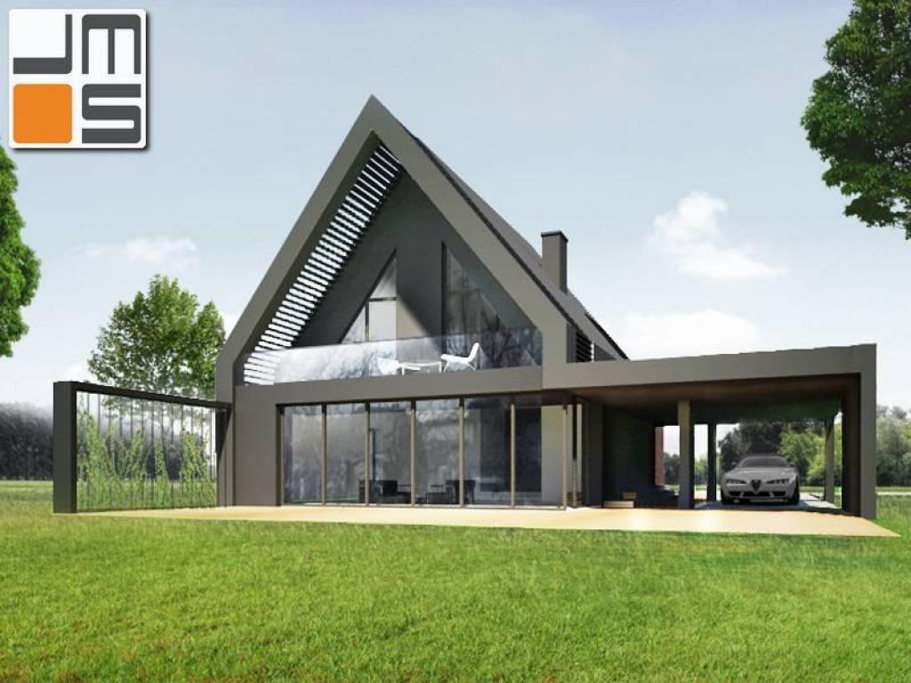 Projekt przeszklonej elewacji z dachem dwuspadowym