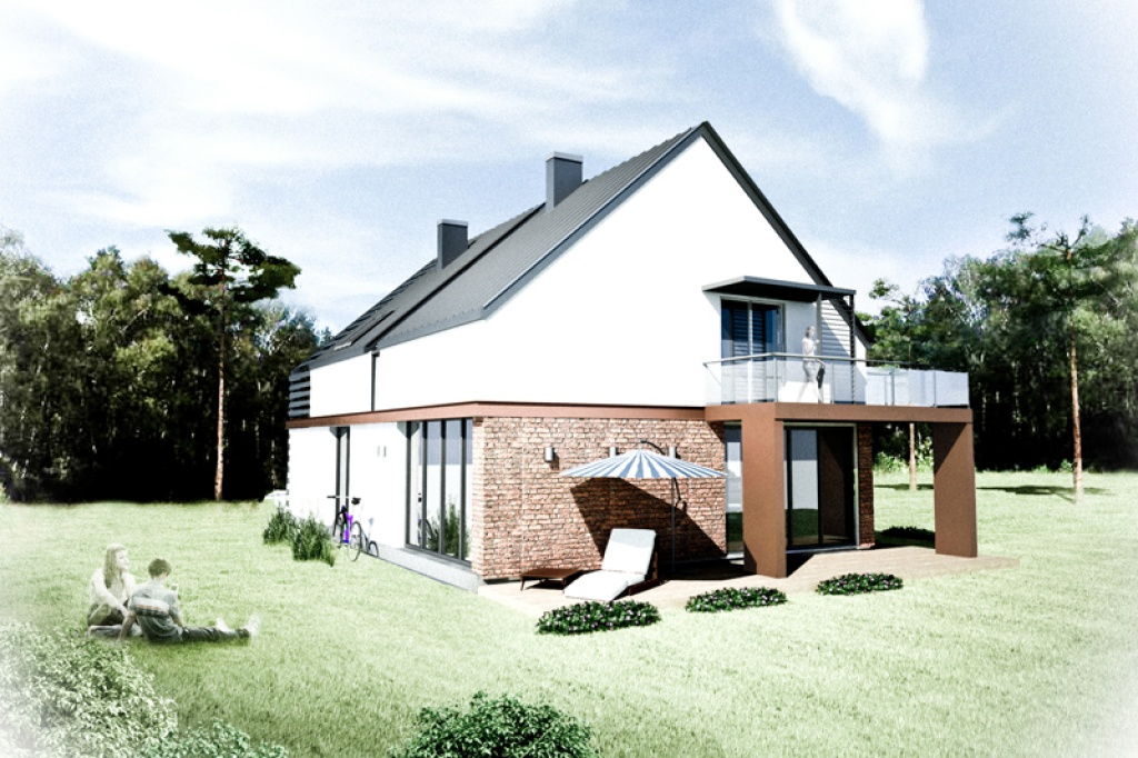 Projekt strefy rekreacyjno-wypoczynkowej nowoczesnego domu jednorodzinnego