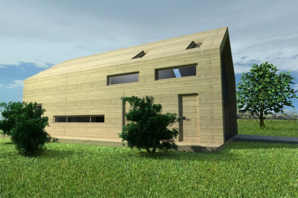 Prosty dom pasywny z elewacją drewnianą