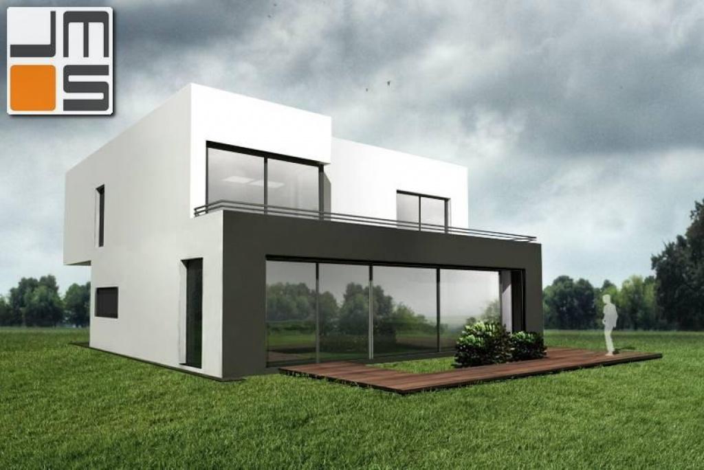 Prosty dom z dużymi oknami i płaskim dachem