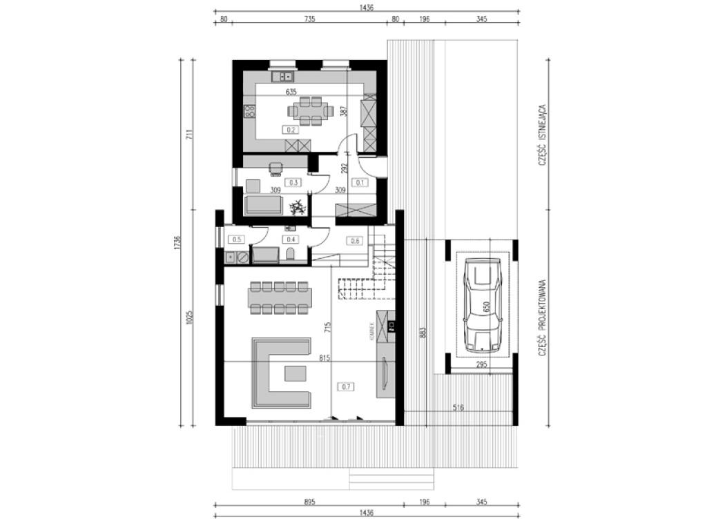 Rzut domu jednorodzinnego - rozbudowa