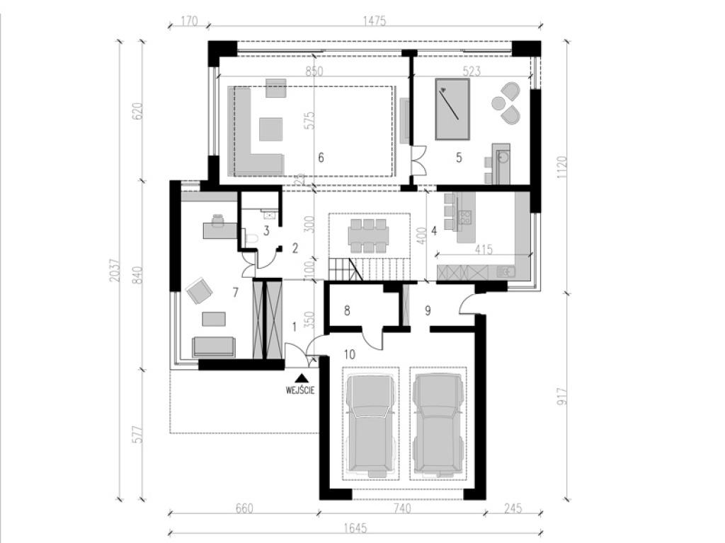 Rzut parteru nowoczesnego domu