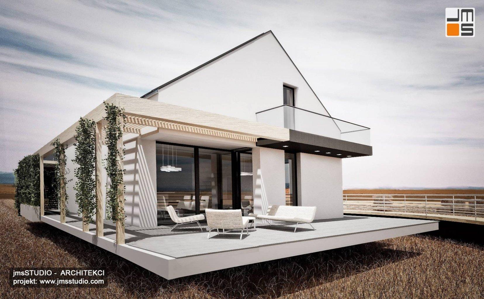 Dom modułowy w super cenie projekt domu modułowego z dużym tarasem i dachem dwuspadowym