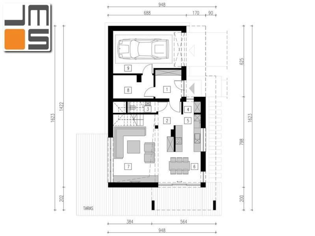 Układ funkcjonalny domu w parterze