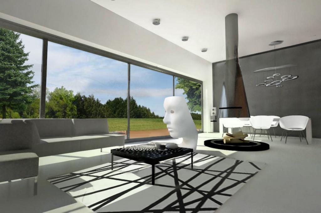 Wizualizacja salonu z dużym oknem w domu jednorodzinnego