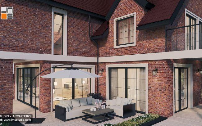 Projekt domu z cegły czyli  efektowny projekt stylowej rezydencji na Jurze z ceglaną elewacją i drewnianą stolarką okienną
