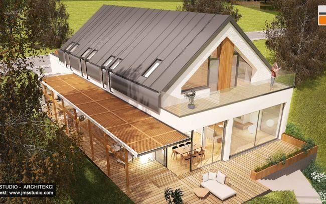 Prosty  nowoczesny projekt  domu jednorodzinnego w Katowicach z dużym tarasem, żaluzjami i dach dwuspadowy to projekt od architekt Kraków - pergolą