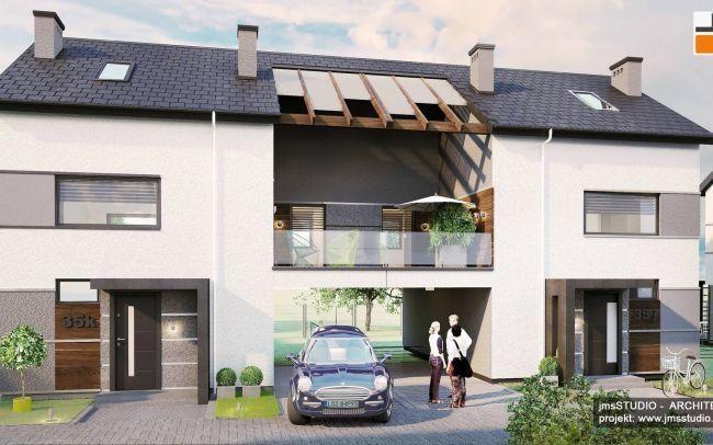 Projekt nowoczesnego osiedla domów w zabudowie bliźniaczej w Krakowie z pomysłem na elewacje proste i efektowne