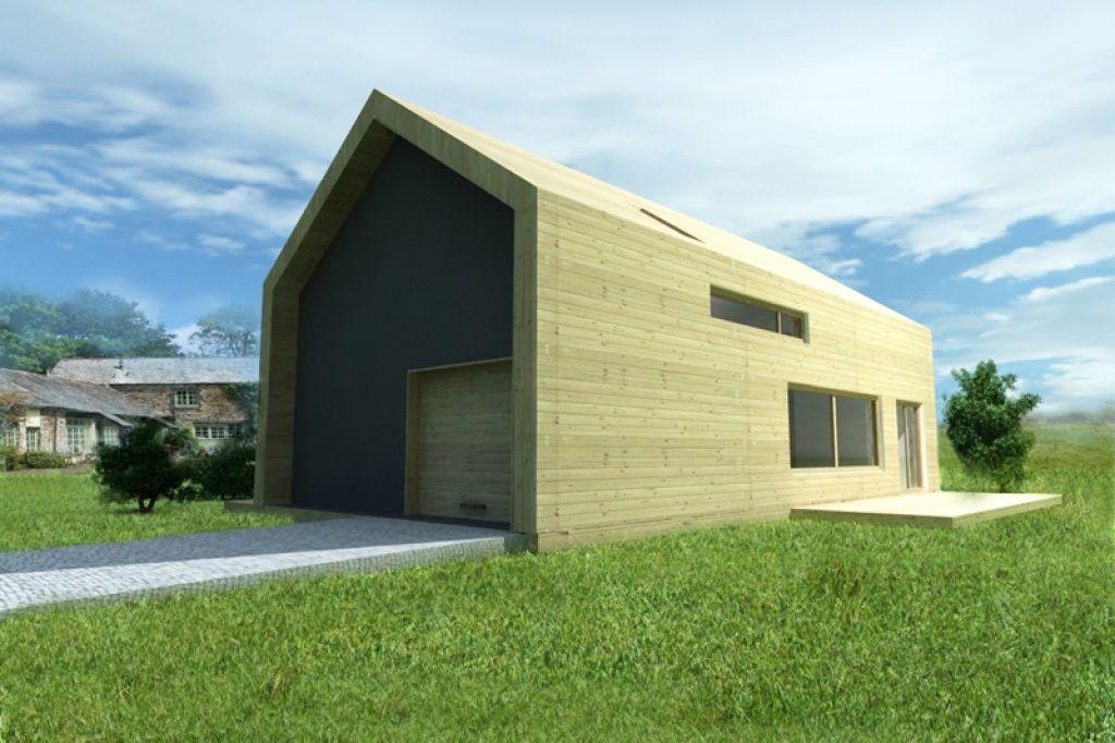 Nowoczesny dom energooszczędny z wbudowanym garażem i elewacją drewnianą